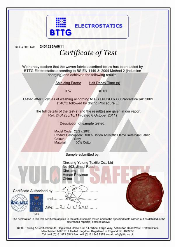 Сертификат BS EN 1149-3