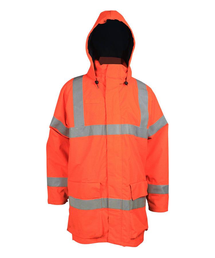 Высокая видимость оранжевый Анти-статические куртка с капюшоном